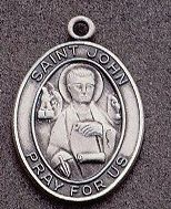 St. John Oval Medal on Chain JC-909/1MFT,patron saint medal, sterling silver medal, chain, necklace, pendant, first communion gift, confirmation gift, sacramental gift,