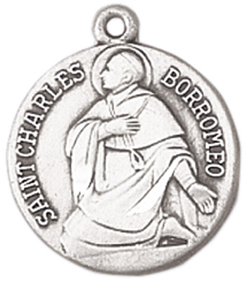 St. Charles Medal on Chain patron saint necklace, sterling silver necklace, pendant on chain, round medal,  jewelry, gift, jc-91/1mft,