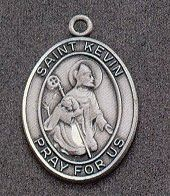 St. Kevin Oval Medal on Chain JC-913/1MFT,patron saint medal, sterling silver medal, chain, necklace, pendant, first communion gift, confirmation gift, sacramental gift,