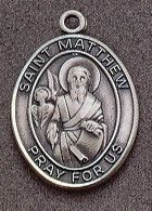 St. Matthew Oval Medal on Chain JC-919/1MFT,patron saint medal, sterling silver medal, chain, necklace, pendant, first communion gift, confirmation gift, sacramental gift,
