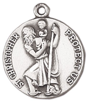 St. Christopher Medal on Chain patron saint necklace, sterling silver necklace, pendant on chain, round medal,  jewelry, gift, jc-92/1mft, patron saint of automobiles, travel, travelers, motorists