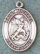 St. Michael Oval Medal on Chain JC-920/1MFT,patron saint medal, sterling silver medal, chain, necklace, pendant, first communion gift, confirmation gift, sacramental gift,