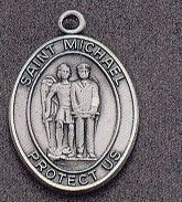 St. Michael Oval Medal on Chain JC-921/1MFT,patron saint medal, sterling silver medal, chain, necklace, pendant, first communion gift, confirmation gift, sacramental gift,