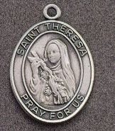 St. Therese Oval Medal on Chain JC-935/1MFT,patron saint medal, sterling silver medal, chain, necklace, pendant, first communion gift, confirmation gift, sacramental gift,