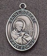 St. Robert Oval Medal on Chain JC-942/1MFT,patron saint medal, sterling silver medal, chain, necklace, pendant, first communion gift, confirmation gift, sacramental gift,