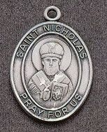 St. Nicholas Oval Medal on Chain JC-944/1MFT,patron saint medal, sterling silver medal, chain, necklace, pendant, first communion gift, confirmation gift, sacramental gift,