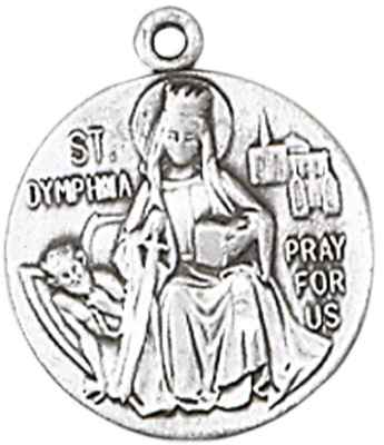 St. Dymphna Medal on Chain JC-95/1MFT,patron saint medal, sterling silver medal, chain, necklace, pendant, first communion gift, confirmation gift, sacramental gift,