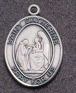 St. Catherine Oval Medal on Chain JC-988/1MFT,patron saint medal, sterling silver medal, chain, necklace, pendant, first communion gift, confirmation gift, sacramental gift,