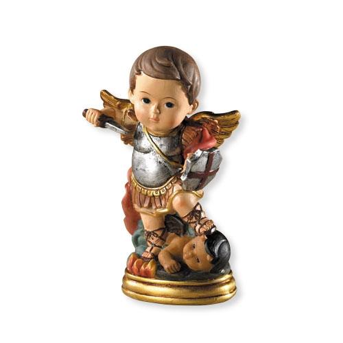 """For Goodness Saints-St. Michael Statue st. michael statue, patron saint, patron of police, church decor, home decor, male statue, 5"""" statue, vc508"""