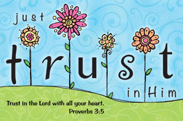 Pass It On-Just Trust in Him 29138, message cards, holy cards, bookmarks, prayer cards, thougts, card to share, group gifts, inspirational gift, sacramental gifts,