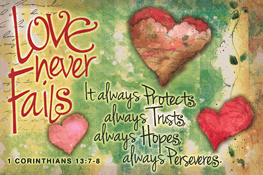 Pass It On-Love Never Fails 29126, message cards, holy cards, bookmarks, prayer cards, thougts, card to share, group gifts, inspirational gift, sacramental gifts,