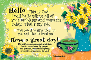 Pass It On-Hello, this is God 29043, message cards, holy cards, bookmarks, prayer cards, thougts, card to share, group gifts, inspirational gift, sacramental gifts,