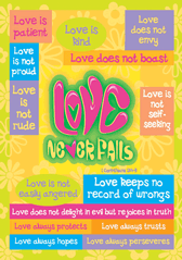 Love Never Fails-Large Poster 63297, poster. wall decor, large poster, inspirational message, teacher resource, school supplies, sunday school, classroom,
