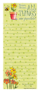 Because He Lives Memo Pad memo board, memo notepad, magnetic notepad, message notepad, message board, refridgerator memo pad,