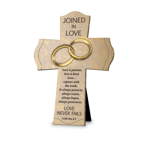 "7"" Standing Cross Joined in Love standing cross, cross, wedding cross, shower gift, wedding gift, joined in love, ring cross,11987"