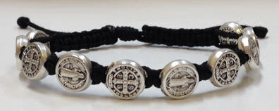Black/Silver St. Benedict Blessing Bracelet with Story Card - 03058