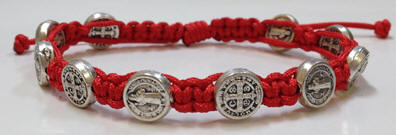 Red/Silver St. Benedict Blessing Bracelet with Story Card favors, bracelet, blessing bracelet, medjugorje bracelet, st benedict bracelet, colored bracelet, handmade bracelets, girl gift, boy gift, sacramental gift, healing gift, prayer gift, first communion gift, reconciliation gift, confirmation gift, graduation gift, quantity discounts,