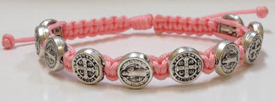 Pink/Silver St. Benedict Blessing Bracelet with Story Card pink and silver, bracelet, blessing bracelet, medjugorje bracelet, st benedict bracelet, colored bracelet, handmade bracelets, girl gift, boy gift, sacramental gift, healing gift, prayer gift, first communion gift, reconciliation gift, confirmation gift, graduation gift, quantity discounts,
