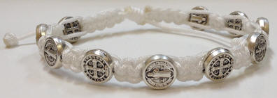 White/Silver St. Benedict Blessing Bracelet with Story Card white bracelet, bracelet, blessing bracelet, medjugorje bracelet, st benedict bracelet, colored bracelet, handmade bracelets, girl gift, boy gift, sacramental gift, healing gift, prayer gift, first communion gift, reconciliation gift, confirmation gift, graduation gift, quantity discounts,