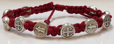 Maroon/Silver St. Benedict Blessing Bracelet with Story Card bracelet, blessing bracelet, medjugorje bracelet, st benedict bracelet, colored bracelet, handmade bracelets, girl gift, boy gift, sacramental gift, healing gift, prayer gift, first communion gift, reconciliation gift, confirmation gift, graduation gift, quantity discounts,