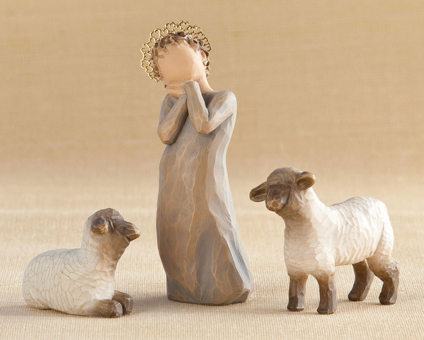 Willow Tree™ Little Shepherdess with Lambs nativity, willow tree set, christmas nativity, holiday gift, wedding gift, indoor nativity, home nativity, 26442, shepherdess, sheep, lamb,