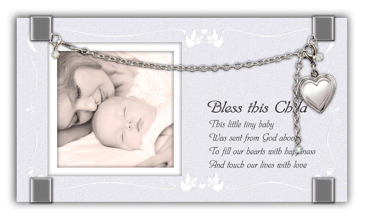 Bless This Child Locket Frame*WHILE SUPPLIES LAST* frame, locket frame, bracelet, baby gift, baptism gift, christening gift, glass plaque, adjustable bracelet, GF204
