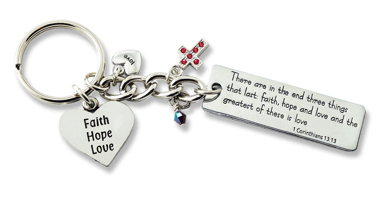 Faith, Hope, & Love Keychain key ring, key chain, auto chain, key holder, message key ring, driver gift, message key chain, KR315