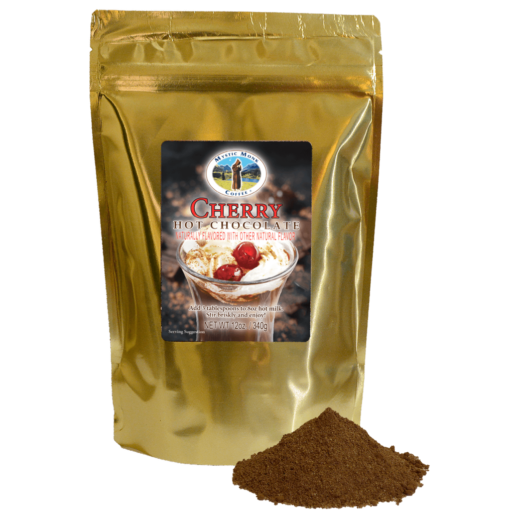 Mystic Monk Cherry Hot Chocolate, 12oz. Bag  hot chocolate,  mystic monk, single serve, cherry hot choc, 12 oz bag, morning coffee, special blend, religious coffee, gift, drink, morning coffee,