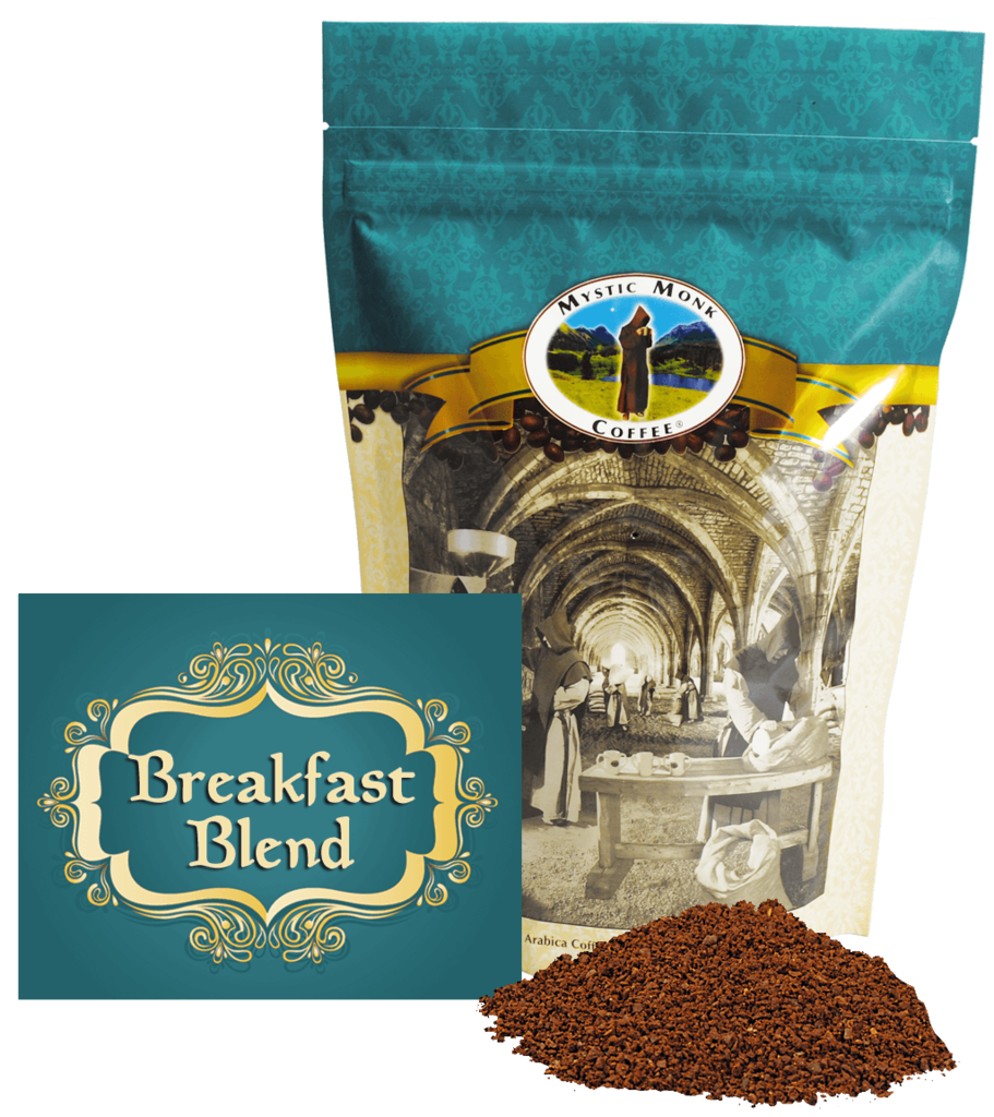 Mystic Monk Breakfast Blend 12oz. Ground Coffee coffee, mystic monk, ground coffee, 12 oz bag, morning coffee, special blend, religious coffee, gift, drink, morning coffee,