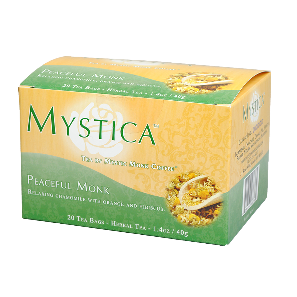 Mystic Monk Peaceful Monk Tea, 20 bags tea bags, 20 bags, individual tea, tea, mystic monk, single serve, morning tea, special blend, religious tea, gift, drink, morning tea,