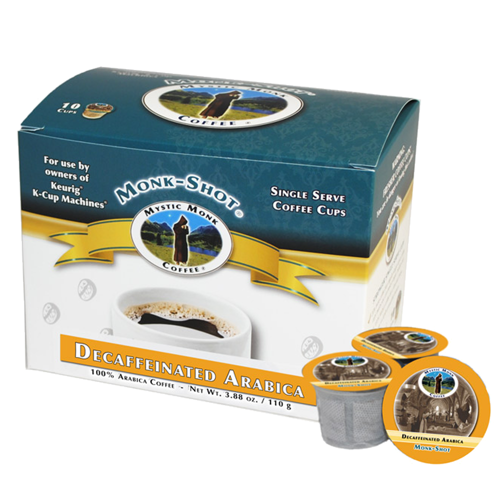Mystic Monk Shots Vespers Decaf Single Serve Coffee, 10 ct. coffee, mystic monk, single serve, individual coffee, morning coffee, special blend, religious coffee, gift, drink, morning coffee,