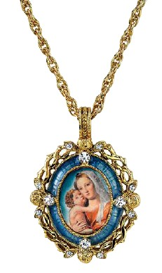 14 KT Gold-Dipped Crystal Blue Enamel Mary and Child Necklace on chain*WHILE SUPPLIES LAST* necklace, jewelry, gold, costume, religious jewelry, mary necklace, madonna and child necklace, necklace and chain,91154-38