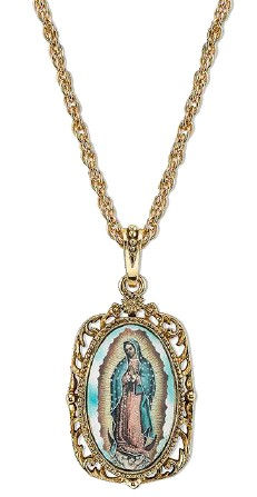 14KT Gold-Dipped Enamel Lady of Guadalupe Necklace on Chain necklace, jewelry, gold, costume, religious jewelry, mary necklace, our lady of guadalupe necklace, necklace and chain,91153-38