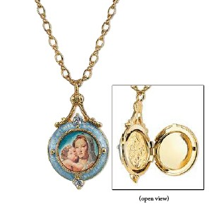14KT Gold-Dipped Blue Enamel Mary and Child Locket Necklace on Chain necklace, jewelry, gold, costume, religious jewelry, mary necklace, madonna and child necklace, necklace and chain,91156-38