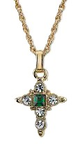 14KT Gold-Dipped Green and Crystal Cross Pendant Necklace on Chain necklace, cross necklace, crystal cross, costume jewelry, religious jewelry, gold, cross jewelry, green stones, green colored cross,91144-24
