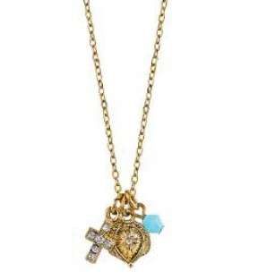 14KT Gold-Dipped Crystal Turquoise Blue Cross Pendant Necklace on Chain necklace, cross necklace, crystal cross, costume jewelry, religious jewelry, gold, cross jewelry,turquoise blue, blue cross, 91136-28