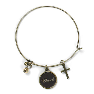 Leather Charm Bracelet Blessed