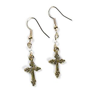 Cross Earrings Gold earrings, jewelry, religious jewelry, birthday gift, sacramental gift, cross earrings, mer14c