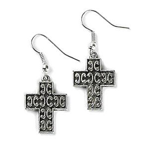 Block Cross Earrings Silver earrings, jewelry, religious jewelry, birthday gift, sacramental gift, cross earrings, mer13c