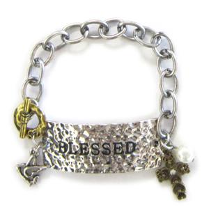 Hammered Bracelet Blessed bracelet, jewelry, religius jewelry, birthday gift, sacramental gift, message bracelet,mhbr02