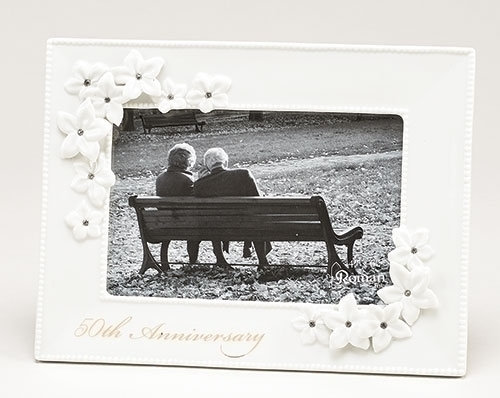 50th Anniversary Frame 10065, 50  anniversary, wedding anniversary, photo frame, frame gift, porcelain frame,