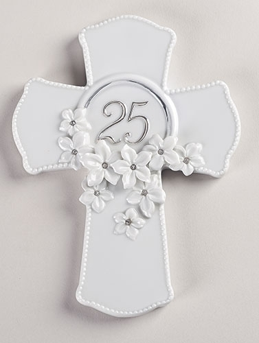 25th Anniversary Wall Cross 10074, 25th  anniversary, wedding anniversary, cross, cross gift, porcelain cross,wall cross