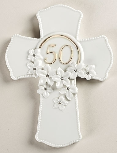 50th Anniversary Wall Cross 10075, 50 anniversary, wedding anniversary, cross, cross gift, porcelain cross,wall cross