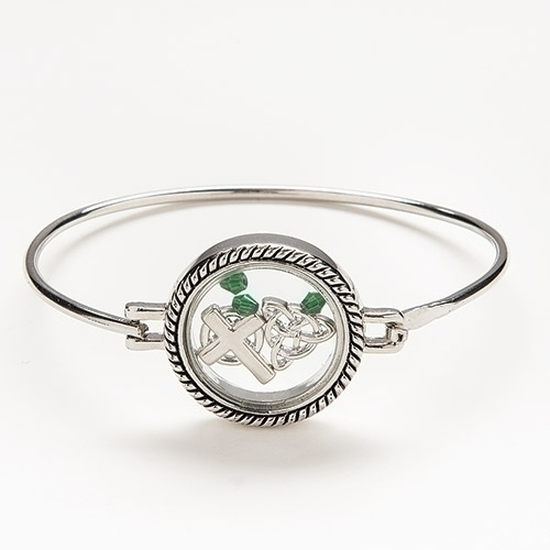 Irish Charm Locket Bracelet bangle bracelet, irish bracelet, irish jewelry, silver jewelry, silver bracelet, charm bracelet, 10659