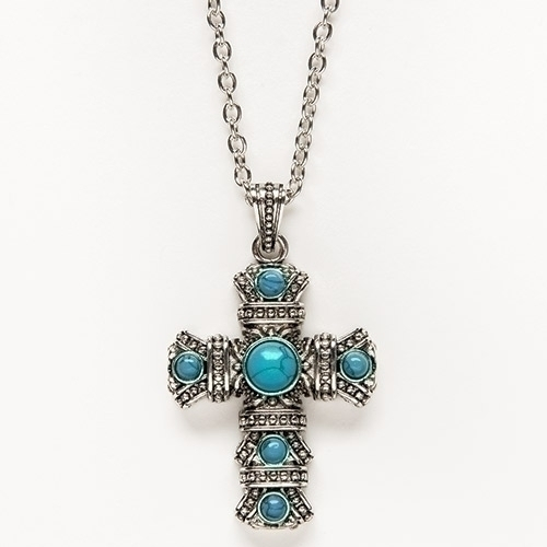 "2"" Cross Pendant on 24"" Chain cross necklace, turquoise cross, cross on chain, jewelry, gift necklace, accessory, 10816"