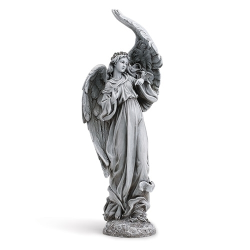 "19"" Standing Angel Statue angel statue, garden statue, lawn statue, angel, plater, outdoor statue, plants, joseph studio, birds, angel with birds, 15793"