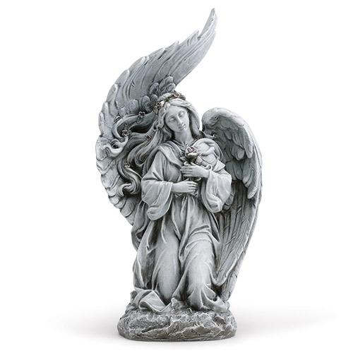 """13 1/2"""" Kneeling Angel Statue angel statue, garden statue, lawn statue, angel, plater, outdoor statue, 10819"""