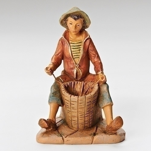 "5"" Allon Basket Weaver Fontanini Figurine fontanini, figures, statues, nativity statues, 5"" figure, limited edition, allon54077"