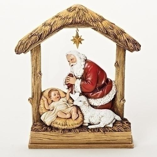 "Kneeling Santa 8"" Figurine statue, figure, santa statue, santa d?cor, christmas decorations, christmas statue, kneeling santa, 66034"