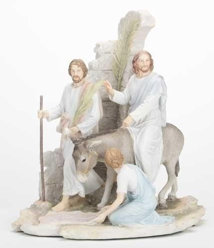 "13"" Palm Sunday Statue statue, colored statue, resin statue, home decor, church decor, figurine,jesus, palm Sunday, jesus ride into town,42381"